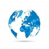 World Map Countries Vector Illustration Globe