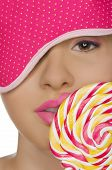 Sexy Woman With Candy In His Mouth And Blindfold