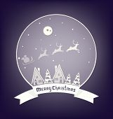 Christmass  village design with lettering