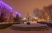 decorated winter city park