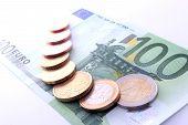 Studio Shot Of Complete Set Of Euro Coins On 100 Euro Bank Note. Symbol For European Economy, Busine