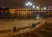 River promenade in Donetsk city on a winter.