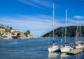 image of dartmouth  - Sailing Yachts Moored on the Dart Estuary at Dartmouth - JPG