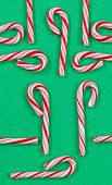 Holiday Canes On Green Background