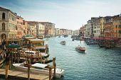 Panoramic view in the morning with backlighting of Canal Grande in Venice, Italy