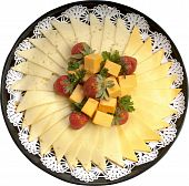 stock photo of deli  - Assorted Cheese deli platter decorated with fruits - JPG
