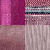 foto of lint  - Set of pink fabric samples texture background - JPG