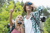 pic of binoculars  - Male hiker using binoculars while girlfriend showing something in forest - JPG