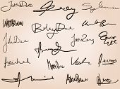 stock photo of contract  - Collection of handwritten signatures - JPG