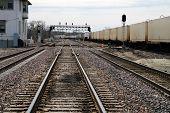 stock photo of illinois  - Railroad tracks in Joliet - JPG