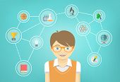 stock photo of geek  - Modern flat vector conceptual illustration of a geek boy with icons of his different educational interests - JPG