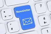 stock photo of newsletter  - Sending newsletter on internet for business marketing campaign with letter symbol - JPG