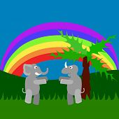 image of tall grass  - Meeting of rhino and elephant in tall grass under rainbow - JPG
