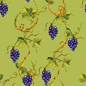 Verde floral uva padrão sem emenda