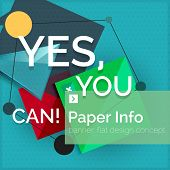 picture of slogan  - Flat design square banner with slogan - JPG