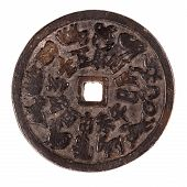foto of copper coins  - an ancient chinese rusty coin isolated over a white background - JPG