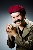 stock photo of trooper  - Funny soldier in military concept - JPG
