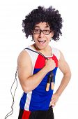 stock photo of skipping rope  - Guy with skipping rope isolated on white - JPG