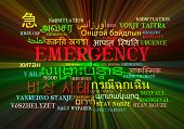 picture of emergency light  - Background concept wordcloud multilanguage international many language illustration of emergency glowing light - JPG