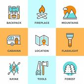 image of raft  - Line icons set with flat design elements of outdoor adventure tourist trip hiking equipment mountain climbing forest and terrain map river rafting - JPG