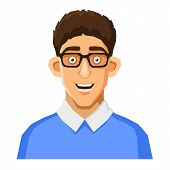 stock photo of nerd glasses  - Portrait of Nerd with Glasses and Blue Pullover - JPG