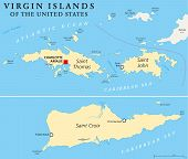stock photo of greater antilles  - United States Virgin Islands Political Map - JPG
