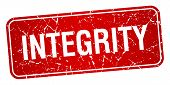 image of integrity  - integrity red square grunge textured isolated stamp - JPG