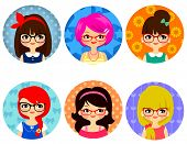 foto of dorky  - set of cartoon cute girls with glasses - JPG
