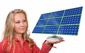 Solar Panel In Woman's Hand