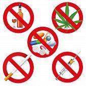 image of addiction to smoking  - No drugs smoking and alcohol signs - JPG