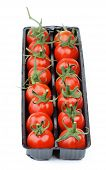 picture of black-cherry  - Perfect Ripe Cherry Tomatoes with Stems in Black Plastic Container isolated on white background - JPG