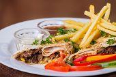 foto of shawarma  - Dish in white plate with Shawarma  - JPG