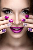 image of nail-design  - Beautiful girl with a bright evening make - JPG