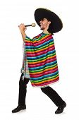 image of maracas  - Handsome man in vivid poncho holding maracas isolated on white - JPG