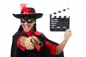 picture of zorro  - Young man in carnival coat with gun and clapper isolated on white - JPG
