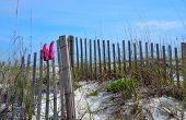 stock photo of gulf mexico  - Beach shoes drying on a wood weathered fence - JPG