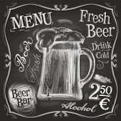 stock photo of drawing beer  - mug of beer on a black background - JPG