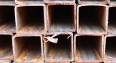 stock photo of foundation  - metal profiles square foundation for building structures steel - JPG