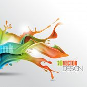 image of pamphlet  - multicolor splash of wet ink paint with shadow eps10 vector background - JPG
