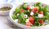 foto of mints  - Watermelon salad with feta cheese - JPG