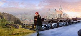 image of surrealism  - Young woman crossing the surreal imaginary border between winter city and summer countryside at the dawn - JPG