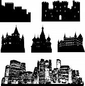 vector castle and city silhouette