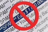 Lijst met mappen spam en rode verbod ondertekenen Macro