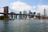 Nueva York, el puente de Brooklyn y Manhattan skyline