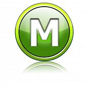 foto of letter m  - glossy 3d icon letter - JPG