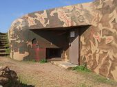 pic of emplacements  - german bunker in Jersey showing camoflage paint - JPG