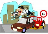 Car Accident Conceptual Drawing showing two vehicles involved and the driver of backside car thrown  poster