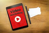 Video Marketing On Mobile Device Screen With Pen And Business Card On Wood Table,digital Marketing C poster