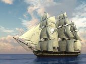 stock photo of pirate ship  - ship with sails in the sea - JPG