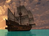 picture of ijs  - ship ij sea in sunset lights - JPG